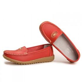 妈妈鞋圆头宽松春秋女单鞋中老年百搭软底防滑一脚蹬舒