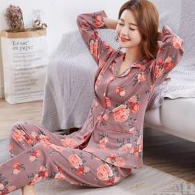 纯棉睡衣女春秋款长袖可外穿家居服中年妈妈冬季女士大