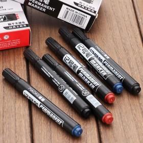 10支装】油性记号笔马克笔黑色大头笔可加墨中性笔