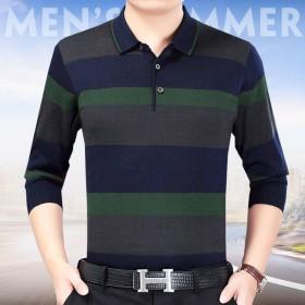 男装T恤衫翻领长袖男装条纹宽松T恤衫