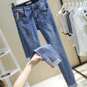 新款高腰修身显瘦牛仔裤女水洗抓痕织带翻边弹力九分裤