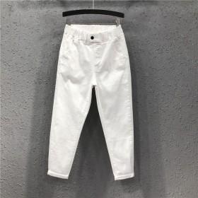 牛仔裤休闲九分裤春季大码白色裤子女宽松显瘦松紧腰