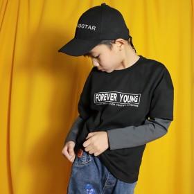 男童假两件长袖T恤中大童春秋打底衫纯棉上衣