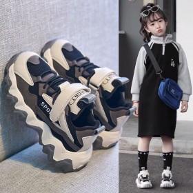 儿童运动鞋2020春季男女童学生网红透气老爹鞋波浪