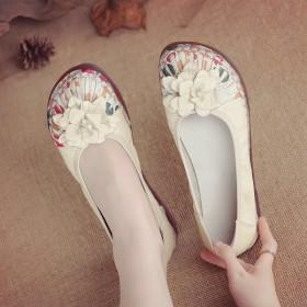 春新款手工鞋舒女鞋民族风真皮女单鞋软底浅口妈妈鞋平