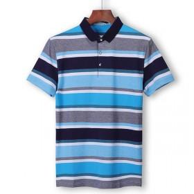 夏季薄款短袖T恤男韩版条纹男士POLO衫上衣男47