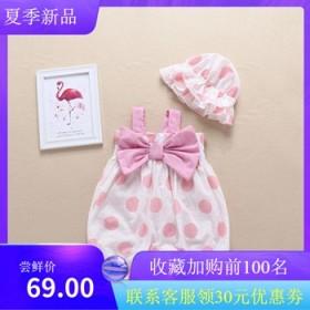 网红婴儿衣服夏薄款女宝宝外出服可爱吊带包屁衣短袖