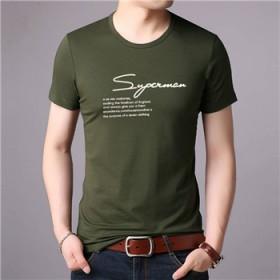 青年男士短袖t恤纯色舒服大码男人青年清凉大码宽松半