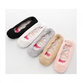 5双春季女士蕾丝船袜潮袜子纯棉浅口韩国隐形防脱短硅