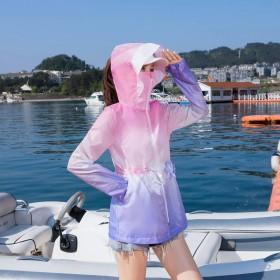 女士新款夏装防晒衣女渐变色超薄透气收腰遮阳外套女