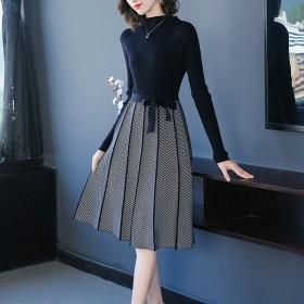 针织拼接连衣裙女中长款春季洋气2020年新款裙子