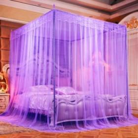 蚊帐加密加厚1.8米2米三开门加粗支架宫廷纹帐