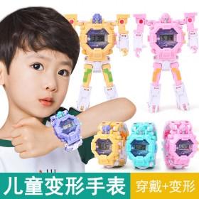 小学生卡通电子表变形机器人模型男孩玩具礼物