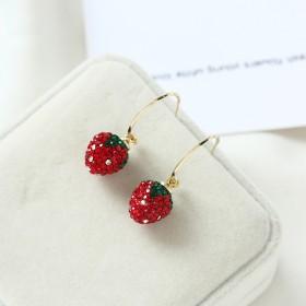 红色草莓耳环女气质耳坠网红韩国个性耳钉