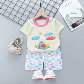 夏季家居服中小儿童套装短袖T恤短裤纯棉
