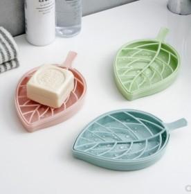 双层沥水肥皂盒浴室塑料香皂盒创意树叶