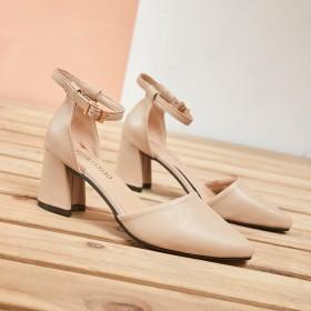 2020年夏季凉鞋修面皮包跟纯色