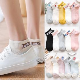 新款5双韩版短袜子船袜女原宿风可爱学生潮百搭浅