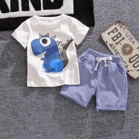 男童夏装套装2020新款韩版中小童宝宝恐龙短袖两件