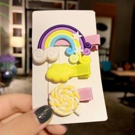 韩国儿童发卡女公主宝宝可爱糖果色发饰网红虹小发夹边