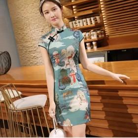 夏季新款时尚改良短旗袍中国风修身显瘦连衣裙少女时尚