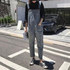 春夏新款韩版复古做旧百搭水洗牛仔背带裤女九分裤学生