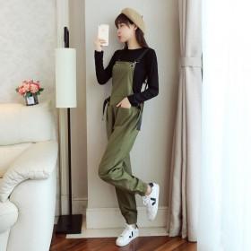 韩版时尚宽松高腰背带裤女显瘦新款纯色工装百搭束脚背