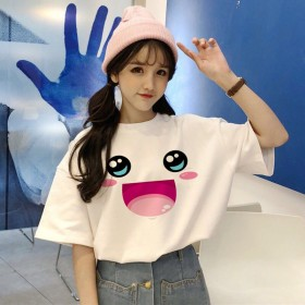 2020新款韩版短袖t恤女学生宽松大码白色闺蜜装