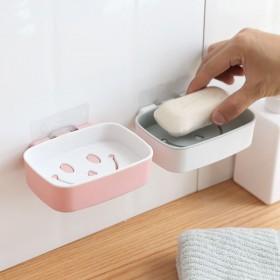 T2085笑脸免打孔壁挂置物架肥皂架浴室沥水皂盒