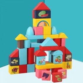 儿童颗粒积木拼装玩具益智实木头48粒袋装