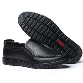 头层牛皮休闲皮鞋男鞋真皮软底中老年爸爸鞋单鞋透气