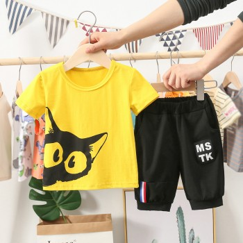 纯棉男童套装夏装2020新款男孩短袖中大童宝宝儿童