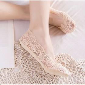 5双装袜子女浅口船袜女隐形袜薄款防滑蕾丝脚底袜