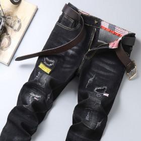 男士牛仔裤弹力韩版潮流破洞牛仔休闲长裤