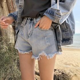 短裤磨破毛边大码牛仔短裤女白色韩版高腰宽松阔腿裤