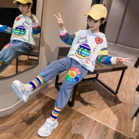 童装女童套装春季新款中大童韩版卡通字母条牛仔裤两件
