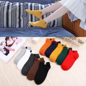 春夏女士袜子薄款潮定标彩棉女袜短筒女袜