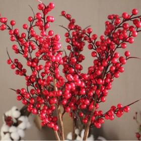 6叉泡沫小红果串仿真花圣诞发财果冬青果