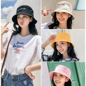 帽子女夏季渔夫帽女韩版学生百搭遮阳帽刺绣日系软妹韩