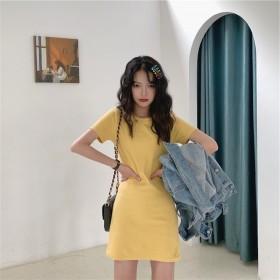 2020夏季韩版新款中长款纯色连衣裙女学生外贸