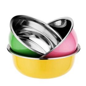 彩色加厚三件套调料盆3个装不锈钢盆厨房多用汤盆洗菜