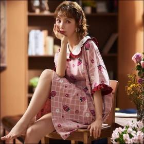 短袖睡裙女夏棉质套头韩版可爱公主女生春秋薄款娃娃领