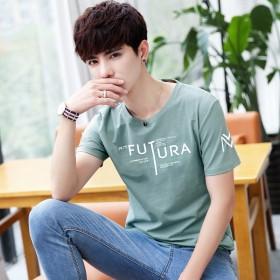 夏季新款2020男士修身休闲短袖t恤韩版潮流学生百