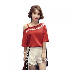 夏季新款韩版学生女装露肩休闲短袖T恤打底上衣