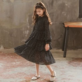 女童连衣裙2020春夏雪纺洋气中大童中长款蛋糕裙