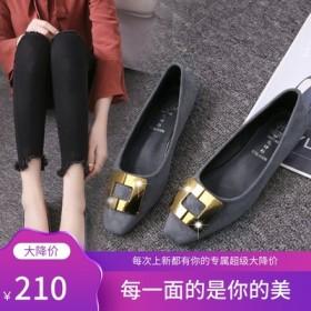 单鞋女鞋春季新款韩版方头浅口平底鞋女式绒扣豆豆鞋女