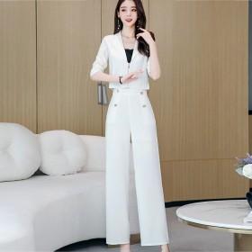 春装2020款女休闲个性长袖两件套新款潮流气质套装