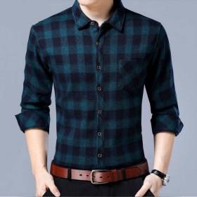 春秋薄款长袖中年男士衬衫宽松大码格子衬衣