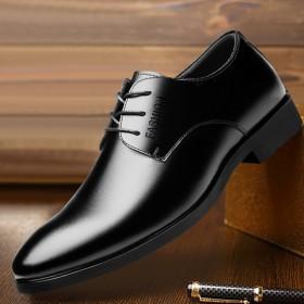 男士皮鞋男鞋青年商务英伦黑色休闲软皮透气正装鞋子男