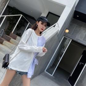 REXMINT日系春秋新品T恤上衣百搭外穿拼接条纹